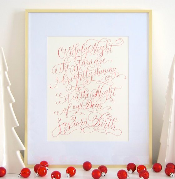 O Holy Night Calligraphy Print